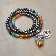 Wrap 7 Chakra Stretch Bracelet, LOTUS Charm, Dangle, Gemstone, Rainbow, Reiki