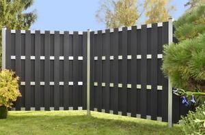 sichtschutz wpc 180x180cm anthrazit aluminium zaunelemente winschutz 44731 ebay