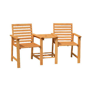 Groovy Details About Modern 2 Seater Solid Eucalyptus Hardwood Outdoor Timber Bench Table Seat Chair Gamerscity Chair Design For Home Gamerscityorg