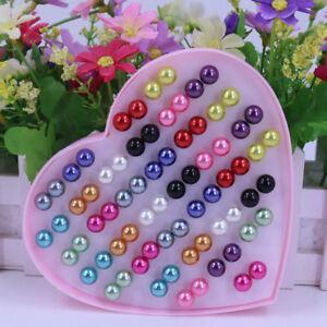 Eg-Hk-36-Paires-Mode-Oreille-Bijoux-Acier-Inoxydable-Faux-Perles-Boucles