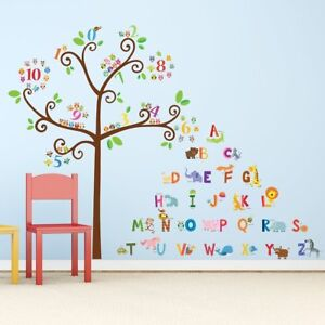 Details About Alphabet Tree Wall Decals Letters Animals Nursery Playroom Room Decor Stickers