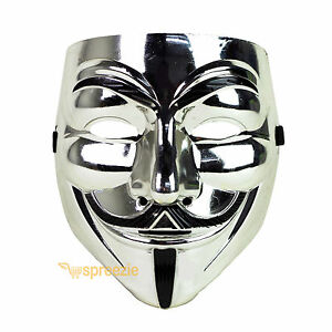 Silver V For Vendetta Face Mask Guy Fawkes Halloween Party