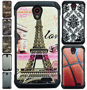 quality design 3c3e4 977da Details about For Cricket ZTE Sonata 3 Z832 Rubber IMPACT TRI HYBRID Case  Skin Phone Cover