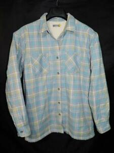 Cabela-039-s-L-Gray-Blue-Plaid-Flannel-Shirt-Jacket-Fleece-Lined-Womens-Button-Front