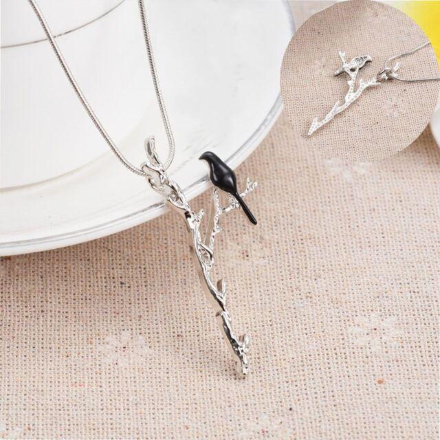 Cute Fashion Necklace Women Jewelry Bird Branch Pattern Long Chain Pendant