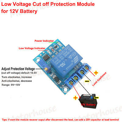 12V Battery Excessive Over Discharge Protection Controller 10A Switch Module Car