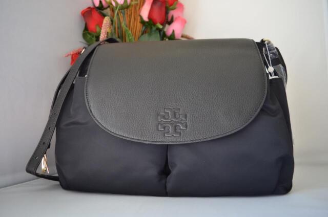92aa1b64469c AUTH NWT TORY BURCH Thea Nylon Leather Travel Baby Messenger Crossbody Bag  Black