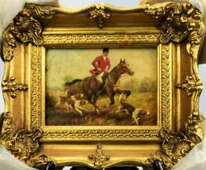 England painting hunting dog oil , board ,wood frame