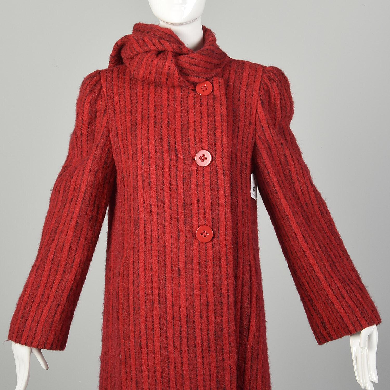 Medium 1980s Pauline Trigere Coat Red Black Strip… - image 8