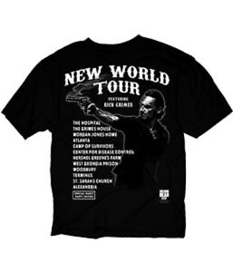 WALKING-DEAD-NEW-WORLD-TOUR-BLACK-Adult-T-Shirt-S-3XL