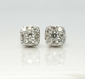 6fdc974295efc Details about Diamond Earrings Studs Cluster 14K White Gold .74cttw