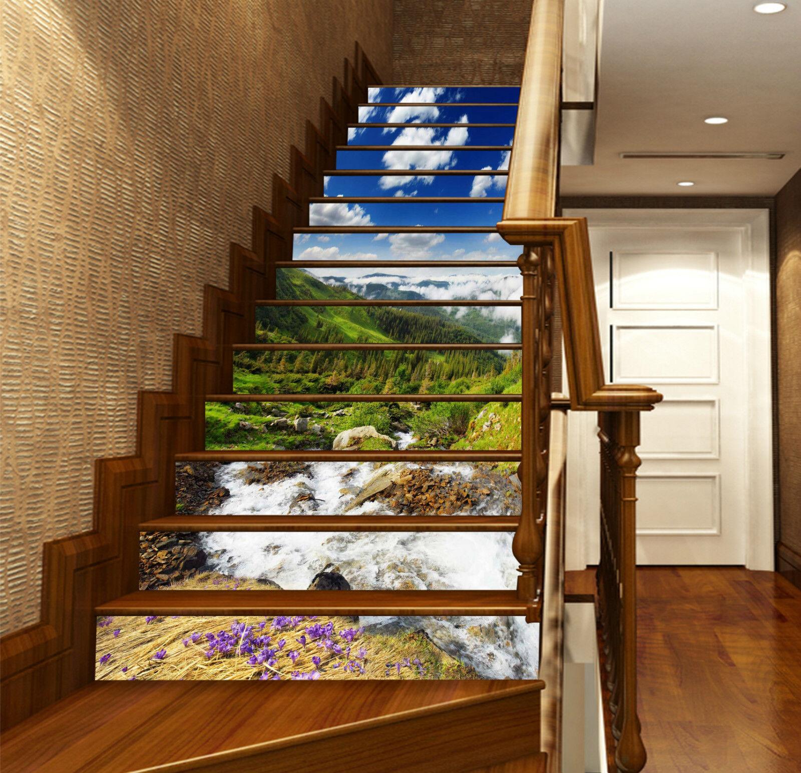 3D Berge Flüsse 318 Stair Risers Dekoration Fototapete Vinyl Aufkleber Tapete DE