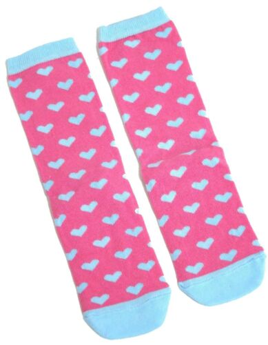 LADIES DITSY PINK /& BLUE HEART DESIGN SOCKS ONE SIZE FITS ALL