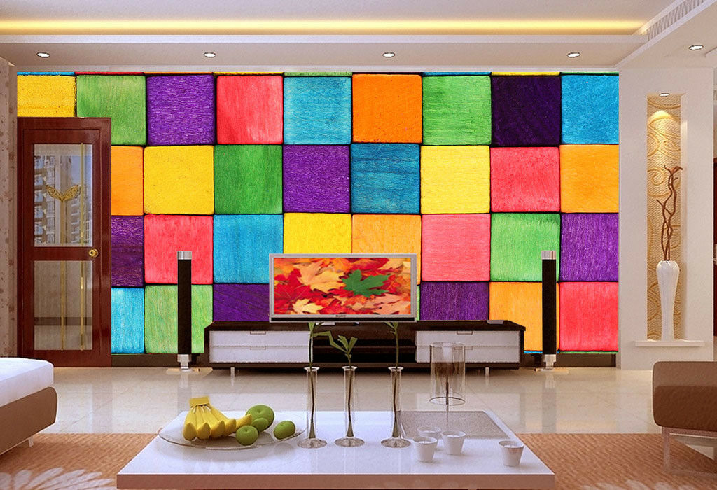 Papel Pintado Pintado Pintado Mural De Vellón Colorido Enrejado 166 Paisaje Fondo De Pantalla ES 4968cb