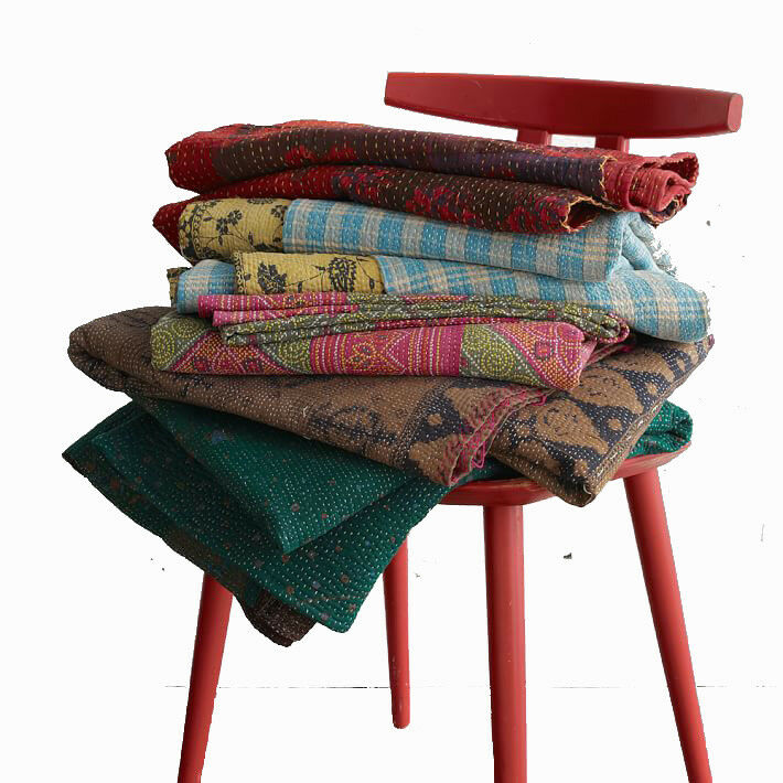 Vintage Kantha Quilt Throw Blanket Cotton Reversible Quilt Twin Queen 10 pc lot