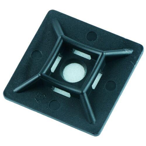 40x40mm Negro Cable Tie Base Adhesiva-Paquete de 100