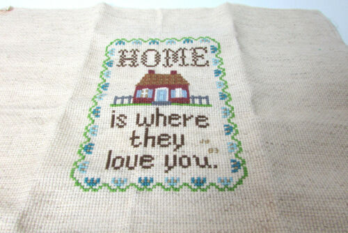 Vintage Home is Where They Love You Needlepoint Cross Stitch Embroidery Artwork