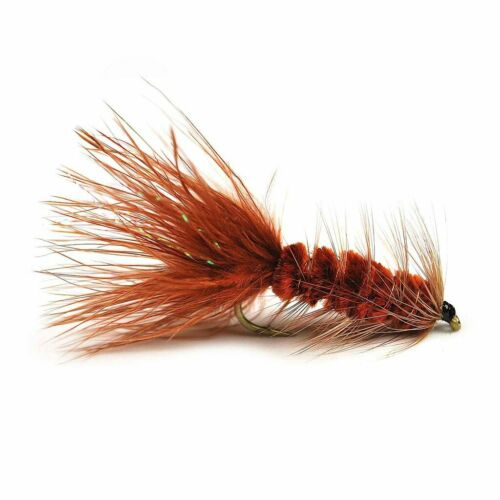 1//2 Dozen Barbless Weighted Brown Woolly Bugger Fishing Flies