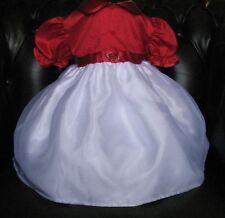 Impresionante Ruby Rojo Y Blanco Vestido de bebé Ocasión Especial Edad 3/6 mths.