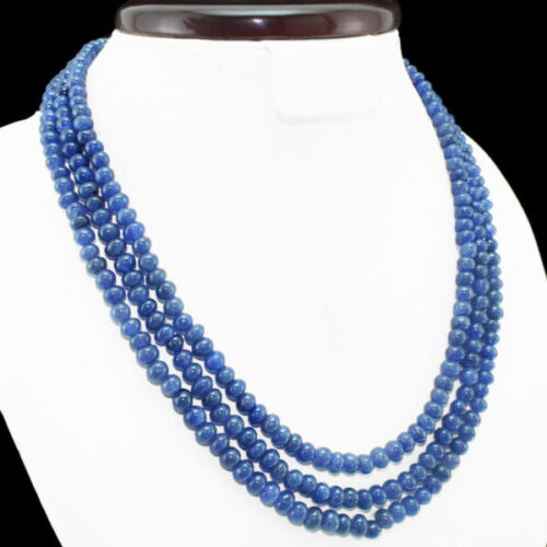 WONDERFUL BEST EVER 367.50 CTS EARTH MINED 3 LINE BLUE SAPPHIRE BEADS NECKLACE