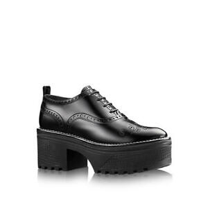 dac36d6a9d42 Louis Vuitton shoes Leather platform Chunky Lace up Black 38 Size 5 ...