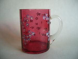 Victorian-Enameled-Cranberry-Glass-Tankard