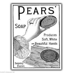 PEARS-SOAP-1910-Vintage-Retro-Old-Anuncio-LETRERO-METALICO-DE-PARED-PLACA-poster