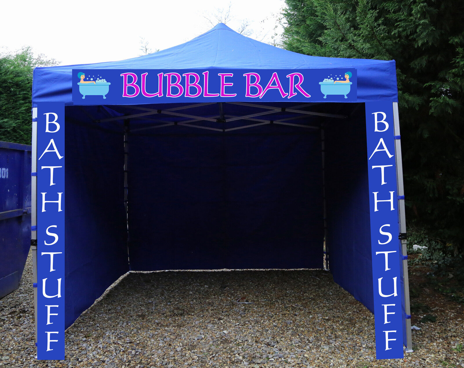 HEAVY DUTY ROYAL blueE GAZEBO ALUMINIUM HEXAGON FRAME PRINTED SIGN INCLUDED