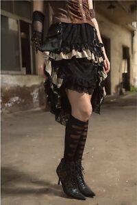 Victorian-Steampunk-Vintage-Gothic-Pirate-Half-Long-Layered-Skirt