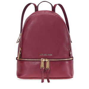 4dfcd4cdeeff Image is loading Michael-Kors-Rhea-Medium-Leather-Backpack -Oxblood-30S5GEZB1L-
