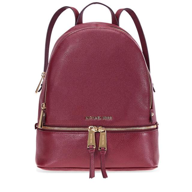 1ac99e3ff5c9 Michael Kors Rhea Pebble Leather Medium Backpack Zip Bag Oxblood for ...