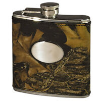 Mossy Oak Camo Leather Hip Flask - Camouflage Gifts