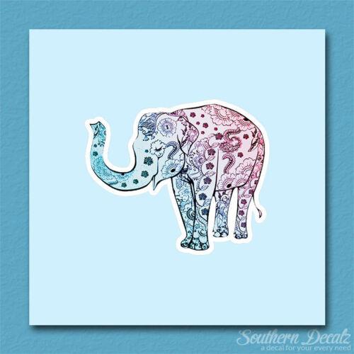 "Vinyl Decal Sticker Floral Elephant Flower Art c236-4.5/"" x 3.75/"""