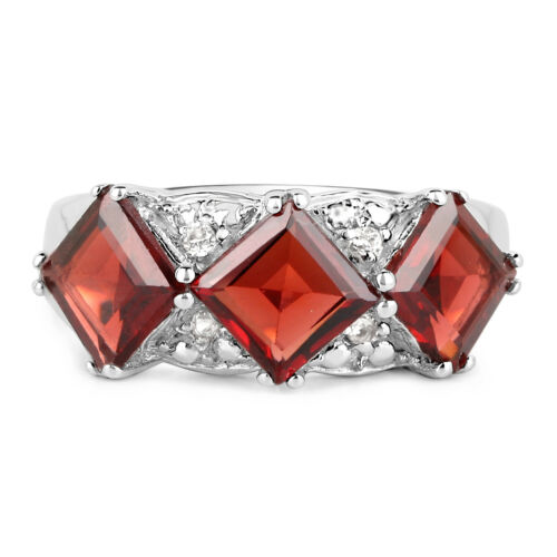 Multiple Si Details about  /925 Sterling Silver Genuine Garnet and White Topaz Ring 3.84 Carat