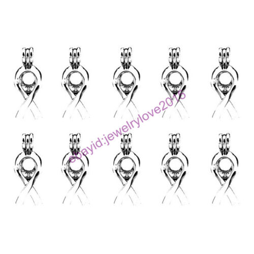HY-K285 Silver 30mm Awareness Ribbon Oyster Pearl Beads Cage Locket Fit 7-8mm