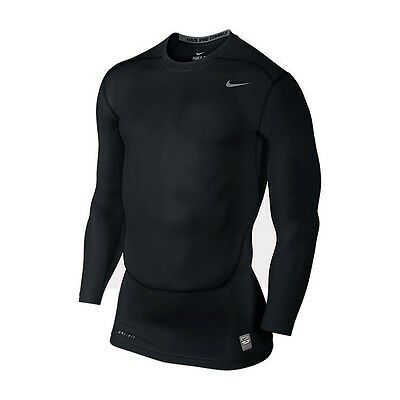 Nike Pro Combat CORE Compression LS TOP 2.0 Stretch Langarm Shirt Schwarz NEU