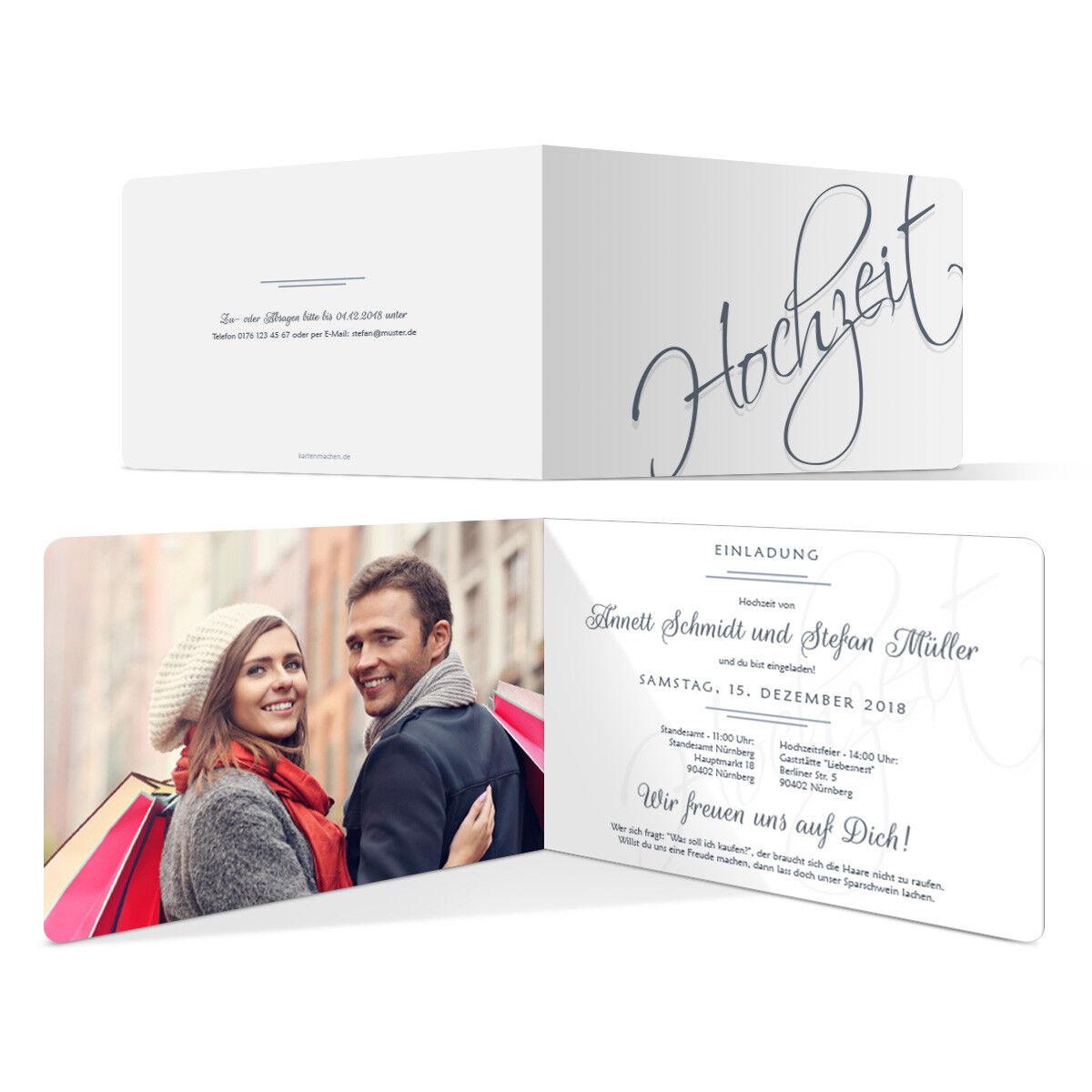 Hochzeitseinladungen Einladungskarten Einladung individuell Hochzeit Schriftzug | Einzigartig  | Exquisite (in) Verarbeitung