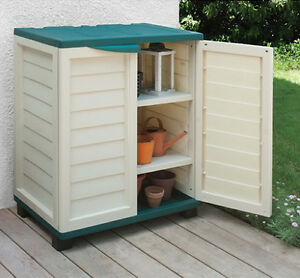 Image is loading Small-Deck-Storage-Outdoor-Utility-Box-Plastic-Shelves-