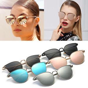 aa1d03370fa Image is loading Quality-Womens-Fashion-Mirror-Lens-Cat-eye-Sunglasses-