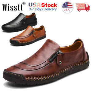 Men-039-s-Leather-Casual-Shoes-Summer-Breathable-Antiskid-Loafers-Slip-on-Moccasins