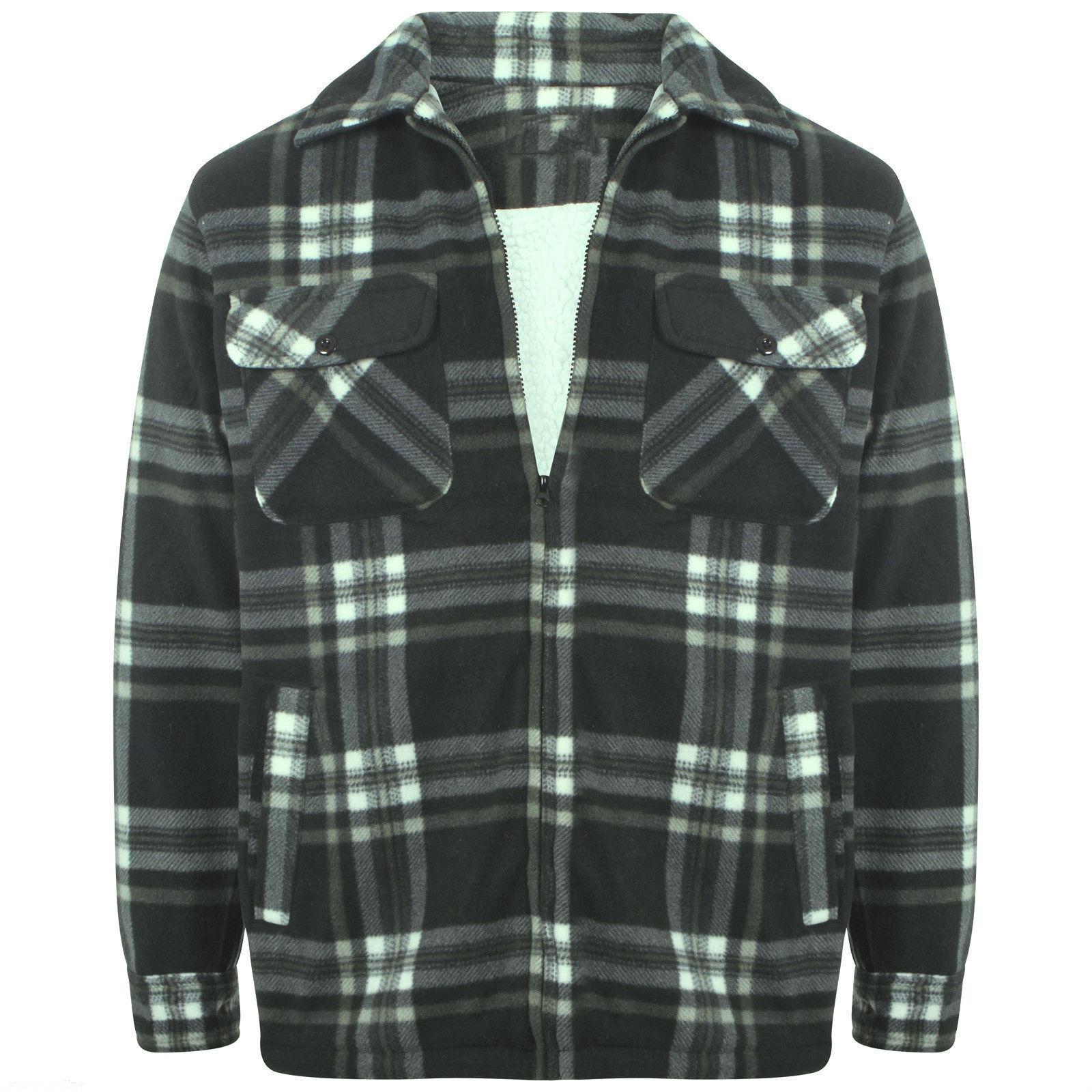 Black / Light Grey Check Thermal Fur Brand New