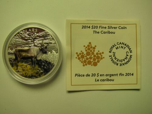 2014 Proof $20 Woodland Caribou Coloured Canada COIN/&COA ONLY .9999 silver twent