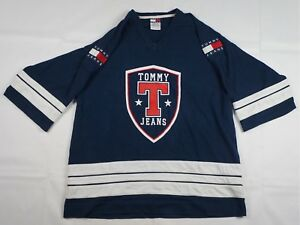Details about Rare Vintage TOMMY JEANS Shield Spell Out Patch Jersey T Shirt 90s Hilfiger SZ L