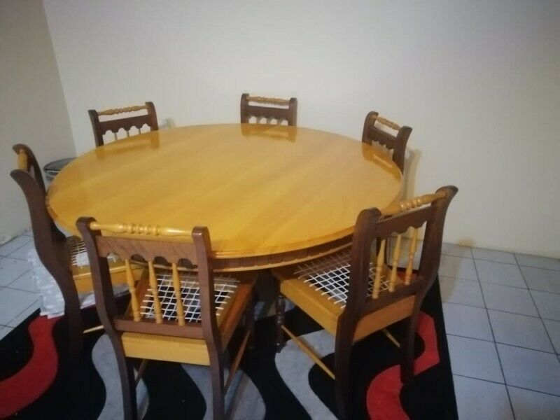 Yellow wood table and chairs for sale