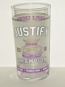 2018-JUSTIFY-TRIPLE-CROWN-CHAMPION-Glass-NEW-MINT-GREAT-Collector-Glass