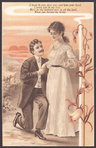 The-Proposal-034-I-kneel-to-you-dear-one-amp-take-your-hand-034-Vintage-Postcard