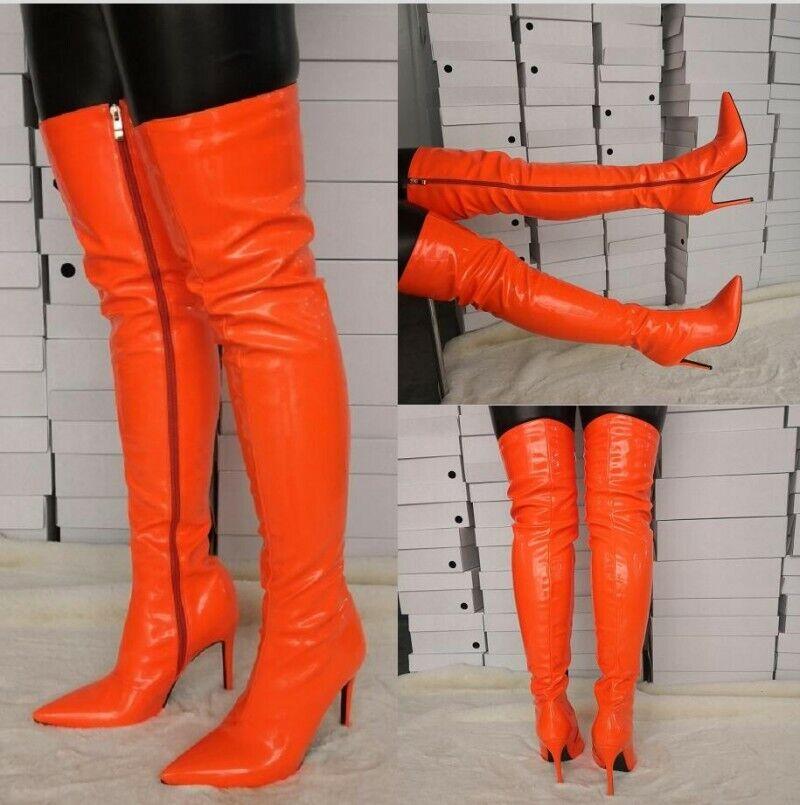 Sexy Para Mujer Zapatos Stilettos Hee Puntera Puntiaguda sobre la rodilla alta botas muslo tamaño grande