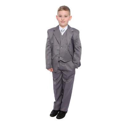 29376342eb Boys Grey Wedding Suit Formal Wear Includes Shirt & Tie Age 1-15 ...