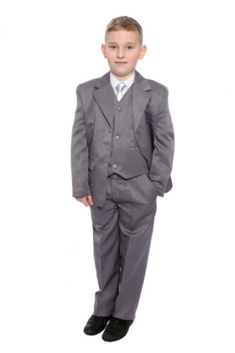 Boys Grey Wedding Suit Formal Wear Includes Shirt /& Tie Age 1-15 Years New