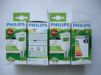 6 x Philips Tornado E14 Ultra Compact Powerful 5w low energy bulbs 300lm 2700k